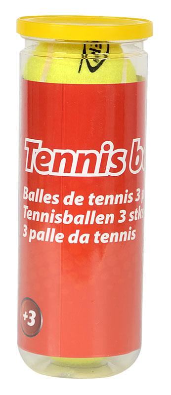 Tube contenant 3 balles de tennis jaunes
