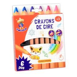 6 pastels en cire + taille crayon