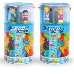 Tube 100 blocs picots avec 4 figurines 3D