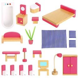 Set de meubles en bois pour maison de poupée