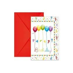 6 CARTES D' INVITATION HAPPY BIRTHDAY STREAMERS