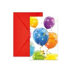 6 CARTES D' INVITATION SPARKLING BALLOONS