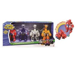Super Wings - Coffret de 4 véhicules robots 18 cm + 4 figurines