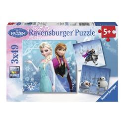 Puzzle 3x49 pièces - La Reine des Neiges: Aventures au pays des neiges