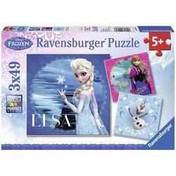 Puzzle 3x49 pièces - La Reine des Neiges: Elsa, Anna, Olaf