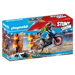 Pilote de moto et mur de feu - PLAYMOBIL Stunt Show -  70553