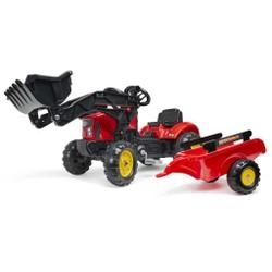 Tracteur à pédales Supercharger rouge avec capot ouvrant et remorque