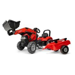 Tracteur à pédales avec excavatrice et remorque