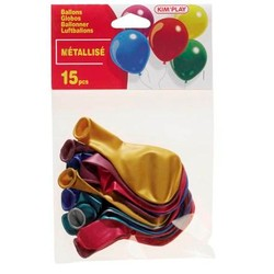 """15 Ballons à gonfler métallisés assortis 10"""""""